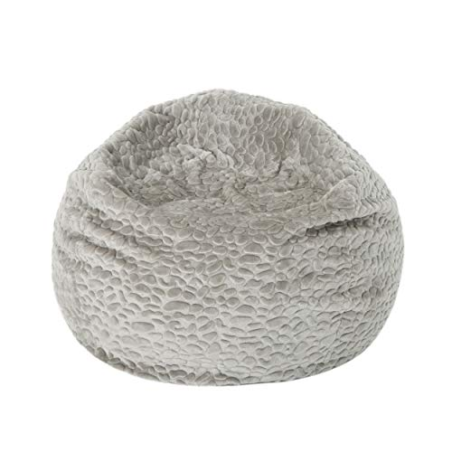 Christopher Knight Home Laraine Furry Glam Grey Pebble Pattern Faux Fur 3 Ft. Bean Bag (Long Fur Bean Bag)