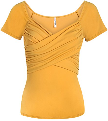 (Mango Wrap Top Mustard Short Sleeve Shirt Womens Mustard Cute Summer Top (Size Medium, Mango))