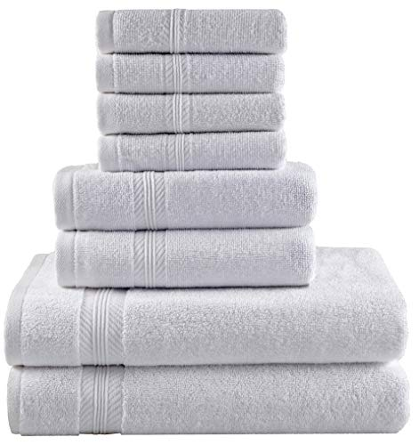 Premium Hotel Quality, 8 Piece Bathroom Towel Set; 2 Bath Towels, 2 Hand Towels, and 4 Washcloths - 100% Ringspun Cotton, Ultra Softness & Absorbency by American Bath Towels, Cotton White