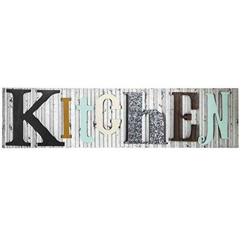 Kitchen Sign Decor (Kitchen Corrugated Metal and Wood Colorful Sign Farmhouse Décor Galvanized)