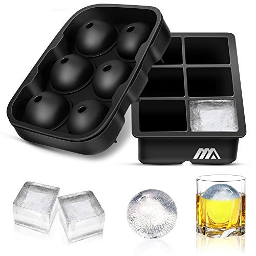 Adoric Ice Cube Trays Silicone Set of 2, Sphere Ice Ball Maker with Lid and Large Square Ice Cube Molds for Whiskey, Reusable and BPA Free