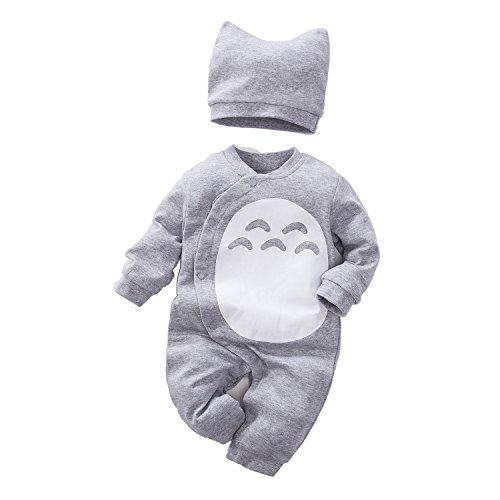Unisex Baby Totoro Long Sleeve Romper with Hat 2-PC Set Grey