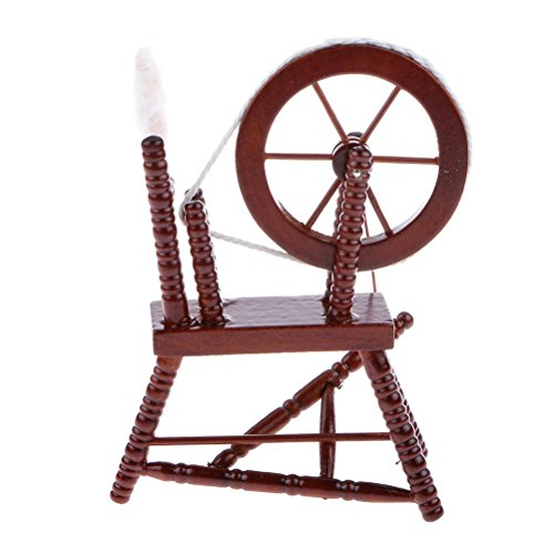 Miniature Toy Wood (Oarkive 1:12 Dollhouse Miniature Spinning Wheel Wooden Accessories Coffee)