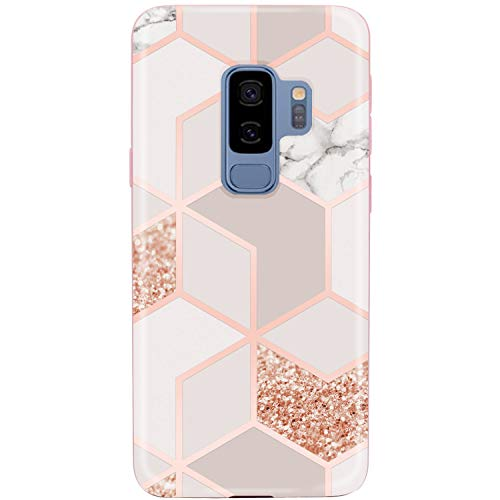 JAHOLAN Galaxy S9 Plus (S9+) Case Bling Glitter Sparkle Rose Gold Marble Design Slim Flexible Bumper Glossy TPU Soft Rubber Silicone Cover Phone Case for Samsung Galaxy S9 Plus ()