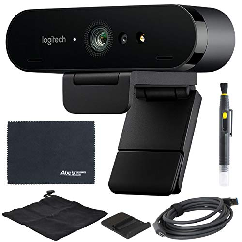 Logitech BRIO UHD 4K Webcam 960 001105 with RightLight 3 and HDR Technology AOM Bundle Kit
