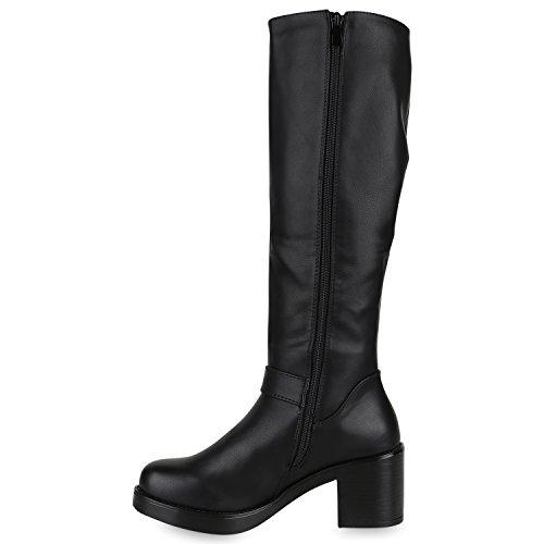 Stiefelparadies Klassische Damen Stiefel Langschaftstiefel Velours Schnallen Schuhe Blockabsatz Damenstiefel Flandell Schwarz Black Schnallen
