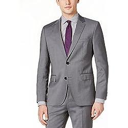 Hugo Boss Men's Medium Grey Tonal Striped Extra Slim Fit Wool Suit 2 Piece C-Jeffrey C-Simmons 50326164-036 by Hugo (44 Regular USA Jacket/38 Waist Pants)