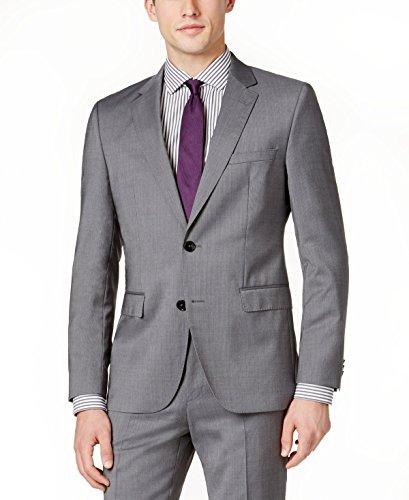 Hugo Boss Men's Medium Grey Tonal Striped Extra Slim Fit Wool Suit 2 Piece C-Jeffrey C-Simmons 50326164-036 by Hugo (44 Regular USA Jacket/38 Waist Pants) Hugo Boss Two Button Suit