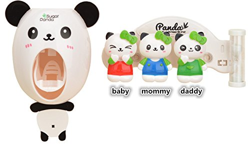 Hourglass Timer Cartoon Toothbrush, ixaer Three Minutes Toothbrush Rack Great Children Panda Figure Animal Wall Squeezing Toothpaste Wash Sets Two-pieces One Toothpaste and Brush Holder For Mother Fat