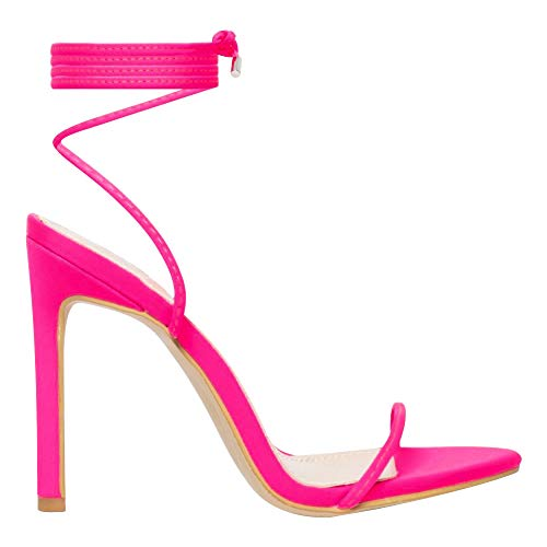 OLCHEE Women's Fashion Strappy High Heel Sandals - Round Open Toe Lace Up Stilettos - Neon Pink Size 7 (Sexy Pink Lace Stiletto Heel)