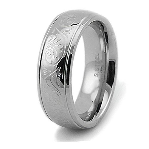 (West Coast Jewelry Engraved Floral Design Stainless Steel Women's Ring (7.5mm) - Size 7 )
