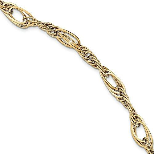 "14 carats taille diamant poli Bracelet lien fantaisie JewelryWeb 7,75 """