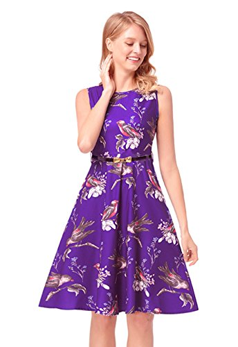 Flower Elegant (Elegant Dress Women's Sleeveless Flower Printed Vintage Classy Party Cocktail Flare Dresses with Belt Purple L)