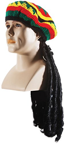 Loftus International Rasta Hat Knitted with Wig Men's, One Size, -
