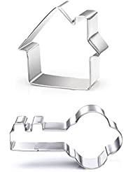 Key and House Biscuit Cookie Cutters Set - Stainless Steel