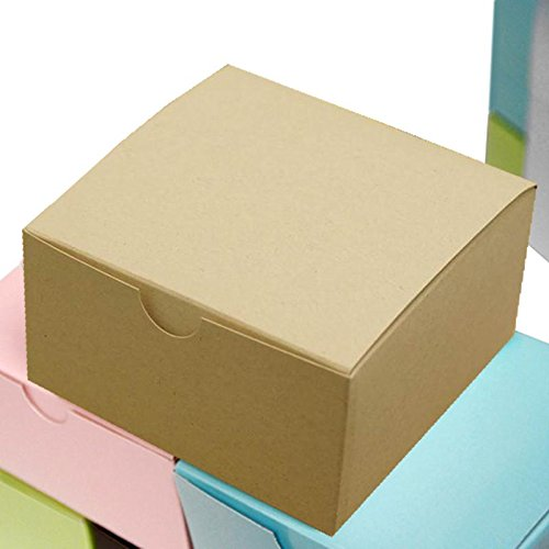 Efavormart 100pcs of 4x4x2 Natural Cake Box for Candy Treat Gift Wrap Box Party Favor Boxes for Bridal Shower Wedding Party
