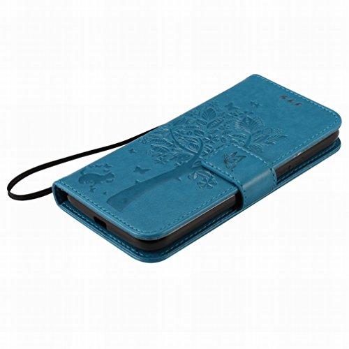 Custodia Motorola Moto G4 Play Cover Case, Ougger Alberi Gatto Printing Portafoglio PU Pelle Magnetico Stand Morbido Silicone Flip Bumper Protettivo Gomma Shell Borsa Custodie con Slot per Schede (Azz
