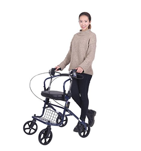 (LUCKYYAN Lightweight Folding 4 Wheel Shopping Trolley with Padded Seat,Elderly Help-Walking Trolley , Lockable Brakes and Carry Basket , blue)