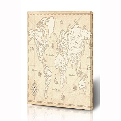 (Ahawoso Canvas Prints Wall Art 12x16 Inches Europe Antique Great Detail World Map Wind Vintage Mountain Ship Globe Africa Parchment Wooden Frame Printing Home Living Room Office Bedroom)