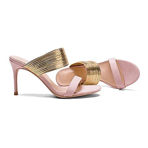 de los Unidos Sandalias Hechizo Tacón Zapatos con Alto Femeninas Estados Color de un y Europa Pink con Zapatos 8cm AwxCqEg