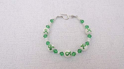 Green Ribbon Awareness Lampwork Swarovski Bracelet