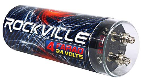 Car Audio Capacitor (Rockville RXC4D 4 Farad Digital Car Capacitor Blue LED Voltage Display Power Cap)