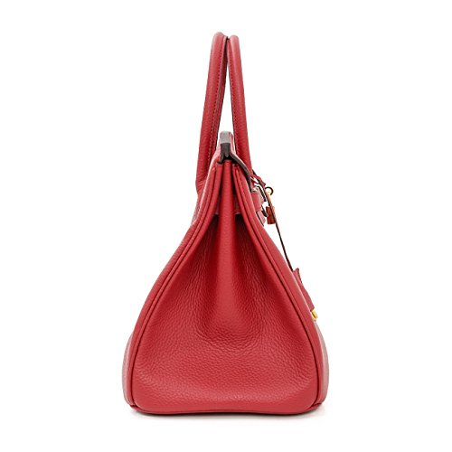 Classic Handbags Mc Flax American and Top Stitch WineRed White Macton Padlock Genuine 35CM 1329 Blue Handle European Leather vBwtzt