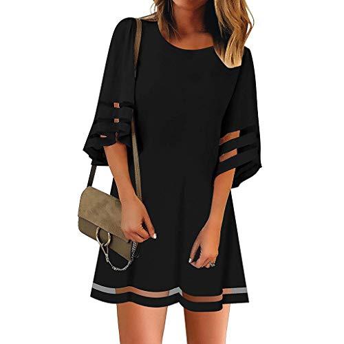 Dressin Women's 3/4 Bell Sleeve Dress Mesh Panel Blouse O Neck Casual Loose Tops Blouse Mini Dress Black