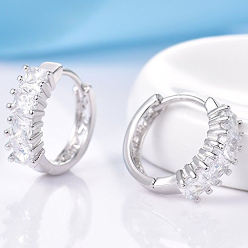 Sujaree shop Womens Delicate White Gold Filled Topaz Crystal Leverback Cheap Earrings Gift (White Gold Cz Leverback Earrings)