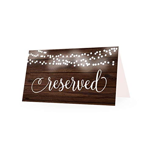25 Rustic VIP Reserved Sign Tent Place Cards for Table at Restaurant, Wedding Reception, Church, Business Office Board Meeting, Holiday Christmas Party, Printed Seating Reservation Accessories -