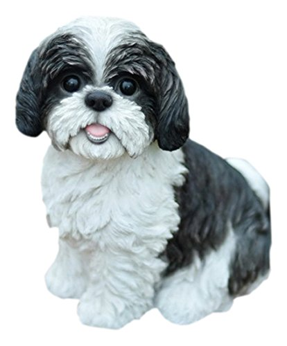 Hi-Line Gift Ltd Sitting Dog - Shih Tzu black and White