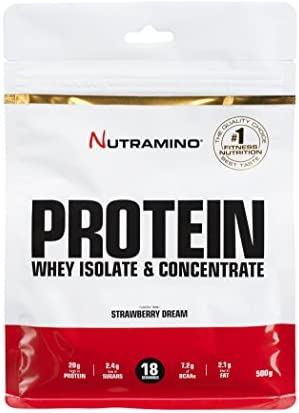 Nutramino Protein Whey Isolate & Concentrate Eiweißmischung Pulver (mit Aminosäuren. Protein Shake) Eiweiß Strawberry...