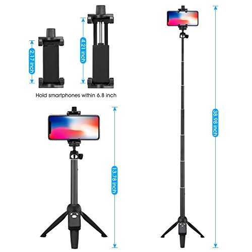 Apsung Selfie Stick Tripod, 40-Inch Extendable iPhone Tripod with Wireless Remote, Portable Selfie Stick for iPhone X/iPhone 8/8 Plus/iPhone 7/7 Plus/Android/Gopro/Digital camera,Gopro Adapter Include by Apsung (Image #1)