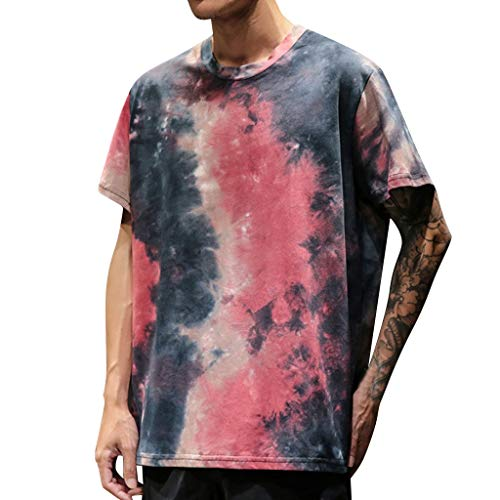 Toimothcn Men's Tie-Dye Shirts Short Sleeves O Neck Hip Hop Casual Tops Blouse(Red,XXXXL)