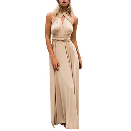 Women's Transformer Convertible Multi Way Wrap Long Prom Maxi Dress V-Neck Hight Low Wedding Bridesmaid Evening Party Grecian Dresses Boho Backless Halter Formal Cocktail Dance Gown Khaki Medium