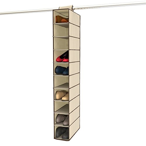 "Single Section Ladder - Ziz Home Canvas Hanging Shoe Organizer for Closet, 10 Shelf, Tough Breathable Fabric Anti-mold 12""x6""x47"" 