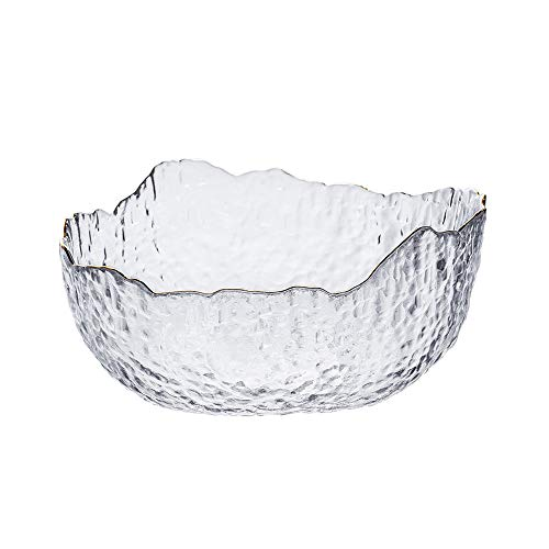 Meipire Thick Glass Salad Bowl, Wavy Rim Serving Bowl for Fruits or Salads, Single Bowl (White)