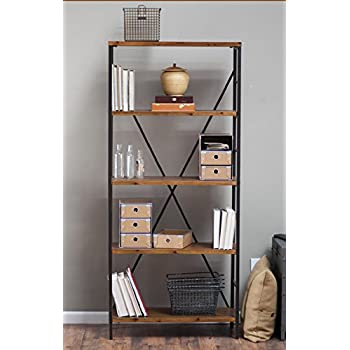 Rustic Wood Bookcase With Adjustable Shelves Featuring An Industrial,  Factory Look   100% Satisfaction Guarantee