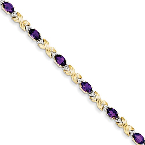 14k Amethyst Jewelry Set (ICE CARATS 14k Yellow Gold Amethyst/diamond Bracelet 7 Inch Gemstone Fine Jewelry Gift Set For Women Heart)
