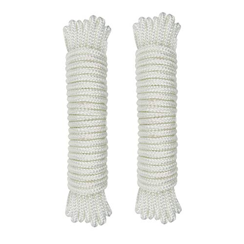 - (1/8 inch)3mm Nylon Rope 25feet Solid Braid,Multipurpose Utility Cord Line,High Strength White Utility Rope Cord Nylon Twine,Commercial, Anchors,Crafts,Blocks,Pulleys,Towing,Cargo,Tie-Downs(25ftx2)
