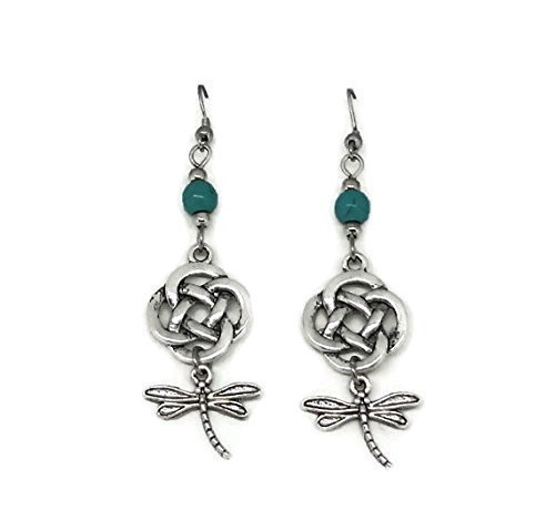 Outllander inspired, Drop Earrings with Celtic Knot, Dragonfly and Turquoise Beads - Scottish ()