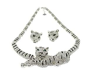Gorgeous Ladies rayas Juego de Collar y Pendientes perforadas de tigre blanco y plateado