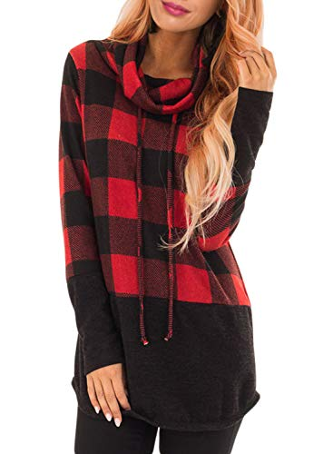 HOTAPEI Womens Casual Tunic Tops Plaid Patchwork Cowl Neck Color Block Fashion Long Sleeve T Shirts Pullover Sweatshirts for Women Sweaters Tunic Blouses Red Large