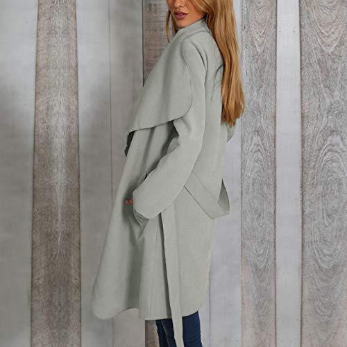 avec Mode Simple Jeune de Femmes Veste Bandage Laine Pardessus Casual Pulls Gris Blousons Tops Manteau Coat Outwear Manches Automne Cardigan Hauts Hiver Fashion Longues pnq48twpr1
