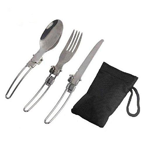 Folding spoon set camping Stainless Steel portatil plegable cuchara tenedor 3 en 1 Camping supervivencia al aire libre Camping Picnic vajilla con bolsa