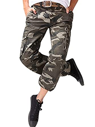 e70a33bba98bf OCHENTA Homme Adultes Combat Pantalons Treillis Militaire Cargo Armee  Pantalon de Travail Multi Poches Coton (sans Ceinture)
