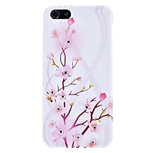 Pink Plum Blossom Pattern Hard Case with Rhinestone for iPhone 5/5S
