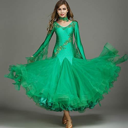 Abito Moderno Da Prestazione Tango Di Maniche Per Uomo Green Valzer Standard Ballo Sala Costumi Lunghe Liscio 1Y1fArqUw