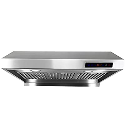 "AKDY New AZ1802 30"" Under Cabinet Stainless Steel Range Hood Illuminated Keypad Baffle Filters"