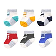 Carter's Baby Boys' 12 Pack Socks with Non-Skid Grippers, Crew-Knit in Sneaker, 3-12 Months